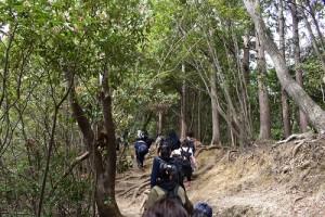 険しい山道を進んでいく学生たち